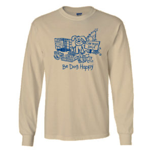 Garage Sale tshirt - front view - from Be Dog Happy