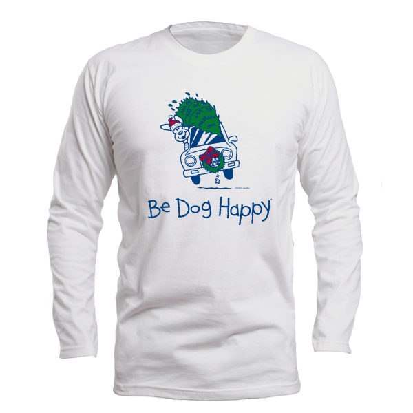 Santa's Coming long-sleeved tshirt - front view - from Be Dog Happy