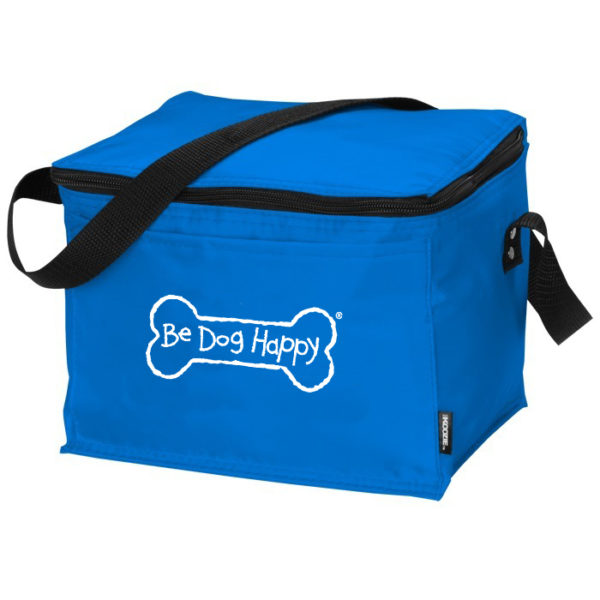 a blue cooler / insulated lunch box with black zipper and strap, featuring the Be Dog Happy Bone logo on the front.