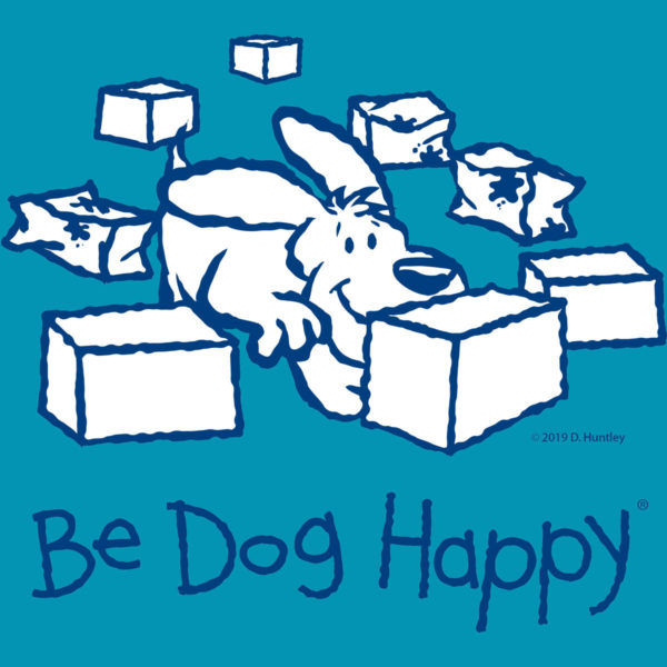 """close-up of the t-shirt design: line-art design (navy blue strokes with white fill) on the chest of a dog sniffing at an unopened package with opened packages surrounding it. The words """"Be Dog Happy"""" are in navy blue across the bottom of the design."""