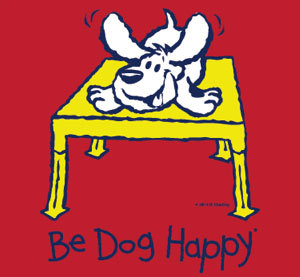 "close-up of the front t-shirt design: line-art design (navy blue strokes with white and yellow fill) on the chest of the shirt. The art depicts a white dog crouching on a yellow table. The words ""Be Dog Happy"" are in navy blue across the bottom of the design."