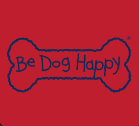 "close-up of the back t-shirt design: line-art design (navy blue strokes) of a dog-bone shape with the words ""Be Dog Happy"" are in navy blue across the middle of the bone."