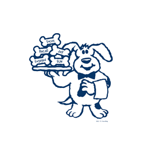 the Be Dog Happy logo dog wearing a bow tie with a service towel over one arm and holding a tray of bones on the other