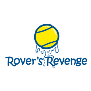 Rover's Revenge logo - a yellow tennisball dripping with dog slobber sits above the words Rover's Revenge