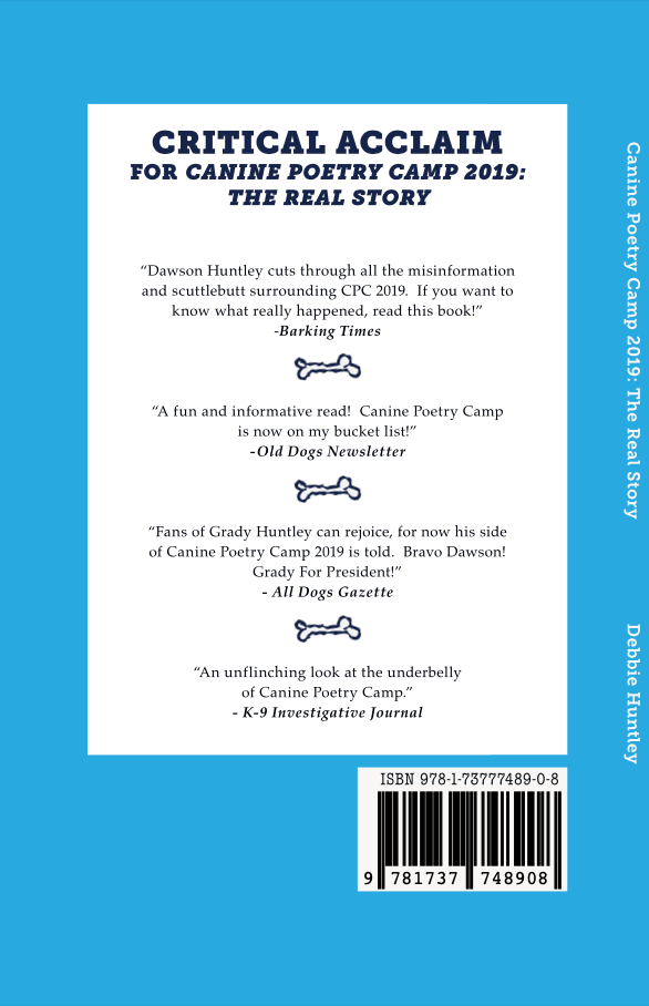Back cover of Canine Poetry Camp 2019: The Real Story